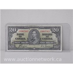 Bank of Canada $20.00 Twenty Dollars (1937) Coyne/Towers H|E