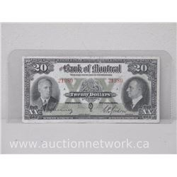 The Bank of Montreal 1938 $20.00 Twenty Dollars Note