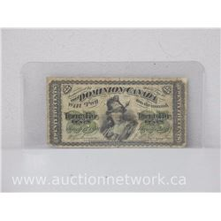 The Dominion of Canada Twenty Five Cents 1870 Note