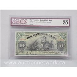 The Dominion Bank 1910 $10 Note Various-Osler, Check Letter C *BCS VERY FINE 20* RARE