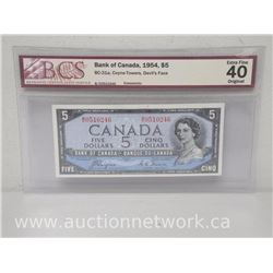 Bank of Canada 1954 $5.00 (BC-31a, Coyne-Towers, Devil's Face) Note *BCS EXTRA FINE 40*