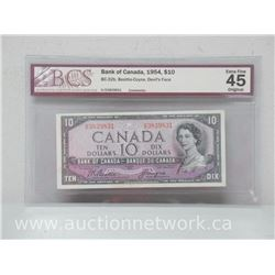 Bank of Canada 1954 $10.00 Note (BC-32b, Beattie-Coyne, Devil's Face) *BCS EXTRA FINE 45*