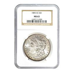1885-CC $1 Morgan Silver Dollar - NGC MS63