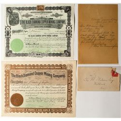 Black Diamond Copper Mining Company Letter & Stock Certificates