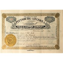 Pittsburgh-Arizona Gold & Copper Mining Company Stock Certificate