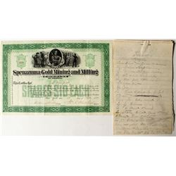 Spenazuma Gold Mining and Milling Company Stock Certificate and Coroner's Inquest