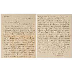 Important Isaac James Letter (Arizona and Nevada Surveyor and Comstock Mining Superintendent)