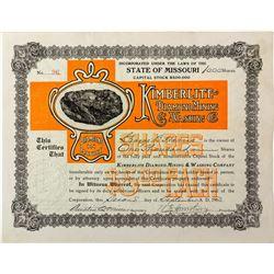 Kimberlite Diamond Mining & Washing Company Stock Certificate