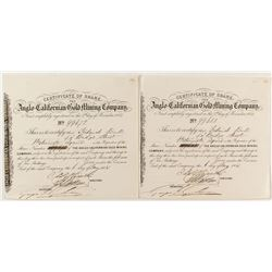 Anglo-Californian Gold Mining Company Stock Certificates (Gold Rush Era)