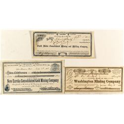 Three Different Grass Valley Mining Stock Certificates