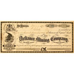 Defiance Mining Company Stock Certificate (GT Brown, Pat Reddy)