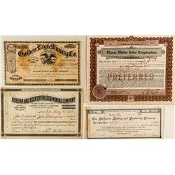 Placer County Mining Stock Certificates (4)