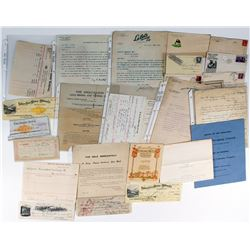 Large California Mining Ephemera Collection: Billheads, Checks, Letters, Covers, Etc.