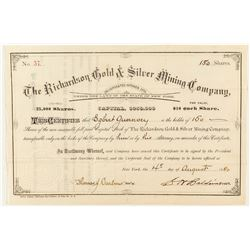 Richardson Gold & Silver Mining Company Stock Certificate, Central City 1880