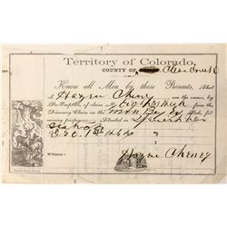 Pre-emption Certificate of Mining Claim, Colorado Territory