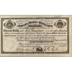 The Panama Mining & Reduction Company Stock Certificate