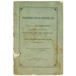 Report & By-Laws of The Western Star Mining Co. Meagher County, Montana Territory