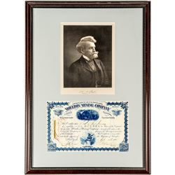 Nicely Framed William Andrews Clark Signed Stock Certificate and Photograph