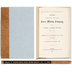 1865 Report of United Reese River Silver Mining Co. (Austin, NV) by Benjamin Silliman