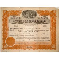 Gresham Gold Mining Company Stock Certificate (Cactus Springs, Nevada)