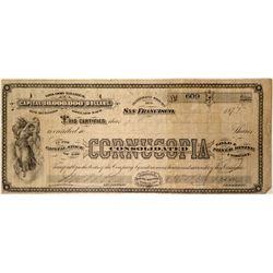 Cornucopia Consolidated Gold & Silver Mining Co. Stock Certificate