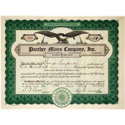 Panther Mines Company, Inc. Stock Certificate (Cornucopia, Nevada)