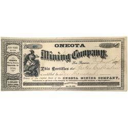 Oneota Mining Co. Stock Certificate (Esmeralda County, Nevada)