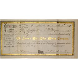 The Nevada Blue Ridge Mining Company Stock Certificate (Lander County)