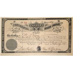 Continental Silver Mining Company Stock Certificate (Reveille, Nevada)