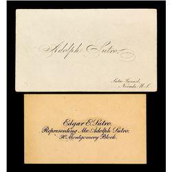 Adolph Sutro Business Cards, Sutro Tunnel, Nevada
