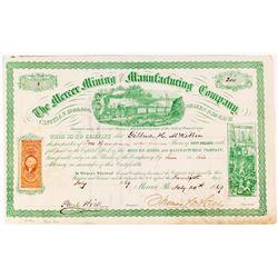 Mercer Mining & Manufacturing Company Sock Certificate #4