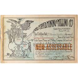 Echo Copper Mining & Milling Company Stock Certificate