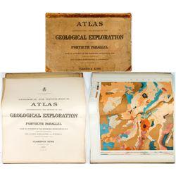 1876 Atlas to Accompany Clarence King Survey- Very Rare Geologic Reference (Nevada, Colorado, Utah)