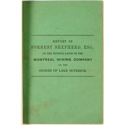 1846 Report of the Montreal Mining Company on the Shores of Lake Superior (by Forrest Shepherd)