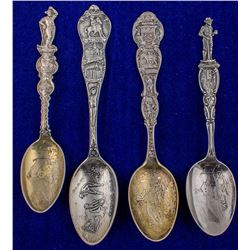 Four Denver Spoons with Mining Scenes on Bowls