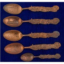 Five Copper Mining Spoons w/ Same Mine & Mill Scenes Handles