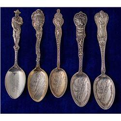 Five Nebraska Mining Spoons: 4 Omaha & 1 Chadron