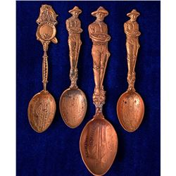 Four Ely, Nevada Copper Mining Spoons