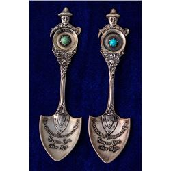 Two Silver City, New Mexico Shovel Spoons with Turquoise on Handles