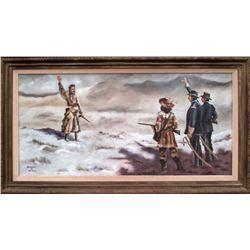 "Robert H. Blair: ""Nez Pearce Surrender"" Oil Painting"