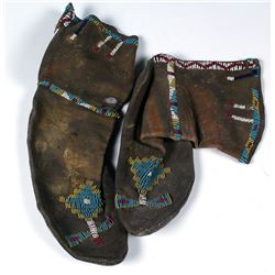 Vintage Plains Leather and Beaded Moccasins