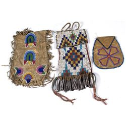 Three Native American Leather Beaded Bags