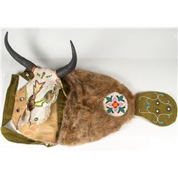 Beaded Beaver Fur Bag and Hand-painted Cow Skull