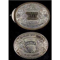 Two Golden West Grand Belt Buckles