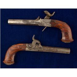 Pair of Auguste Francotte Folding Trigger Percussion Pocket Pistols