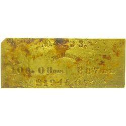 Justh & Hunter Gold Ingot Face Plate from the SS Central America