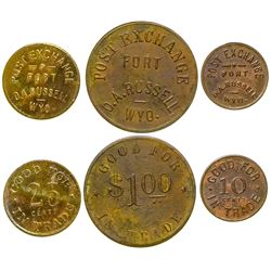 Fort Russell 10c, 25c and $1 Tokens (Wyoming)