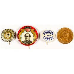 Political Buttons / Pins: Arthur, Hoover, Bryan, Curtis