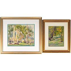 Two Watercolors by Minerva Pierce