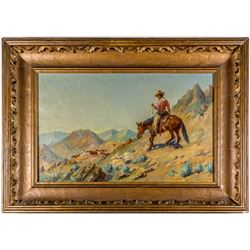 """""""Mustering the Horses"""" Painting by J. Howard Martin"""